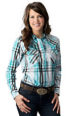 Cowgirl Hardware® Women's Turquoise, Brown & White Plaid with Longhorn Long Sleeve Western Shirt