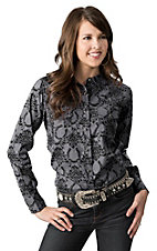 Cowgirl Hardware® Women's Grey Damask Horseshoe Long Sleeve Western Shirt