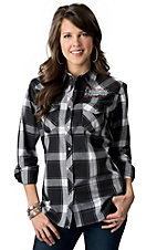 Cowgirl Hardware® Women's Black & White Plaid Untamed Heart Long Sleeve Western Shirt