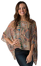 B Sharp Women's Peach with Multicolor Tribal Print Chiffon 3/4 Sleeve Top