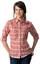 Panhandle Slim® Women's Pink, Orange & Brown Plaid Long Sleeve Western Shirt