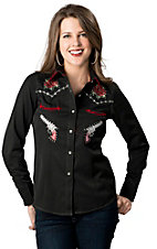 Panhandle Slim® Women's Black w/ Rose & Barbwire Embroidery Long Sleeve Retro Western Shirt