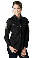 Panhandle Slim® Women's Black w/ Cream Scroll Embroidery Long Sleeve Retro Western Shirt