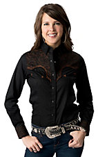 Panhandle Slim® Women's Black Ridin Hard w/ Brown Embroidery Long Sleeve Retro Western Shirt