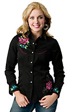 Panhandle Slim® Women's Black Tattoo My Heart with Floral Embroidery Long Sleeve Retro Western Shirt