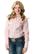 Panhandle Slim® Women's Pink, Tan and White Leaf Print Long Sleeve Western Shirt