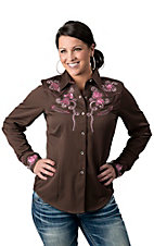 Panhandle Slim® Women's Brown Simply Charming w/ Pink Floral Embroidery Long Sleeve Retro Western Shirt