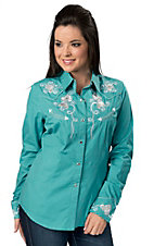 Panhandle Slim® Women's Turquoise Retro Floral Embroidery with Crystals Long Sleeve Western Shirt