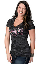 Cowgirl Hardware® Juniors Black and Grey Sassy Cowgirl with Studs Burnout Short Sleeve Tee
