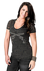 Cowgirl Hardware® Women's Grey Paisley Burnout with Studded Crossed Pistols Short Sleeve Tee