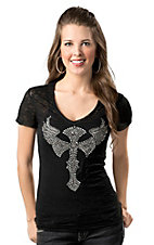 Cowgirl Hardware® Juniors Black with Rhinestones and Studs Winged Cross Burnout Short Sleeve Tee