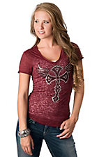 Cowgirl Hardware® Juniors Wine with Rhinestone Winged Cross Short Sleeve Burnout Tee