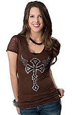 Cowgirl Hardware® Juniors Brown with Rhinestone Winged Cross Short Sleeve Burnout Tee