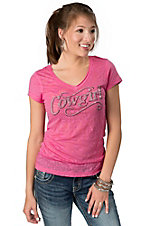 Cowgirl Hardware® Juniors Pink Cowgirl Animal Print Burnout Short Sleeve Tee