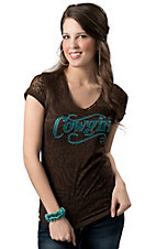 Cowgirl Hardware® Juniors Brown with Turquoise Studded Cowgirl Animal Burnout Short Sleeve Tee