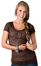 Cowgirl Hardware® Juniors Brown with Studded Elk Skull Short Sleeve Leopard Burnout Tee