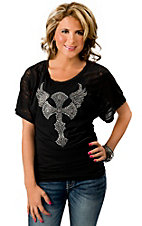 Cowgirl Hardware® Women's Black w/ Rhinestone Winged Cross Short Sleeve Tee
