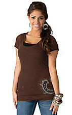 Cowgirl Hardware® Juniors Brown with Silver & Turquoise Studded Horseshoe Short Sleeve Leopard Burnout Tee