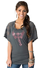 Cowgirl Hardware® Women's Grey with Pink Studded Winged Cross Short Sleeve Tee