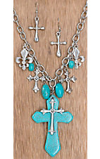 Cattilac Style® Silver & Turquoise Cross w/ Fleur De Lis Charms Jewelry Set