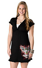 Cowgirl Hardware® Juniors Guns and Roses with Ruffles Short Sleeve Dress