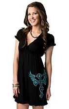 Cowgirl Hardware® Juniors Black with Turquoise Studded Winged Cross and Ruffles Short Sleeve Dress