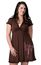 Cowgirl Hardware® Juniors Brown with Pink Studded Winged Cross and Ruffles Short Sleeve Dress