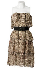 Argee® Women's Leopard Print Tiered Ruffle w/ Bow Belt Strapless Dress - Plus Size