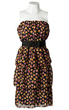 Argee® Women's Black with Pink and Yellow Flowers Tiered Ruffle w/ Bow Belt Strapless Dress - Plus Size