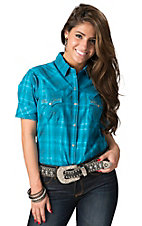 Panhandle Slim Women's Turquoise Santa Fe Plaid with Silver Lurex Short Sleeve Western Shirt