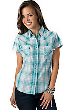 Panhandle Slim® Women's Turquoise and White Plaid with Silver Lurex Short Sleeve Western Shirt
