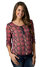 Vintage Havana® Women's Pink and Navy Python Print Sheer 3/4 Sleeve Fashion Top