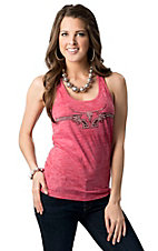 Cowgirl Hardware® Juniors Pink with Studded Steer & Guns Racer Back Tank Top