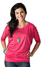 Karlie Women's Coral Pink 3/4 Dolman Sleeves Fashion Tunic Top