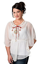 Fashion Spy® Women's White with Red and Green Embroidery and Tie Sheer Poncho Short Sleeve Fashion Top