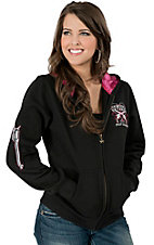 Cowgirl Hardware� Women's Black with Pink Fully Loaded Zip Up Hooded Jacket
