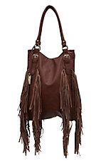 Urban Originals Cognac Crazy Heart Fringe Tote Purse