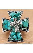 M&F Western Products Inc® Turquoise & Crystal Cross Stretch Ring