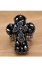M&F Western Products Inc® Black Smoke Beads Cross Stretch Ring