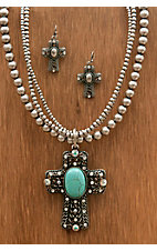 M&F Western Products® Silver Cross with Turquoise Necklace and Earrings Jewelry Set