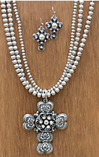 M&F Western Products® Silver 3 Strand Cross Jewelry Set