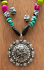 M&F Western Products® Colored Stones with Zebra and Cowgirl Concho Jewelry Set