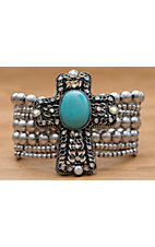 M&F Products® Turquoise Cross Silver Braclet