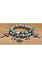 M&F Products® Turquoise & Silver Cross Charm Bracelet