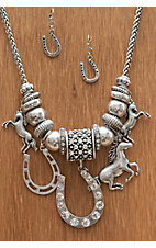 M&F Western Products® Silver Horse & Horseshoe Charm Necklace & Earrings Jewelry Set