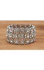 M&F Products® Silver with Clear Crystals Stretch Bracelet