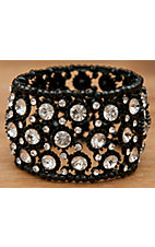 M&F Products® Black with Clear Crystals Stretch Bracelet