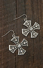 M&F Western Products® Silver Maltese Cross with Clear Crystals Dangle Earrings