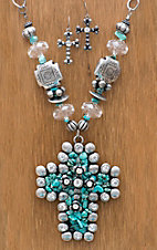 M&F Western Products® Large Turquoise Stone Cross Jewelry Set