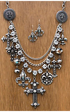 M&F Western Products® Silver Cross and Fleur de Lis Multi Layered Jewelry Set